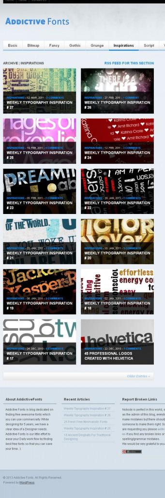 Zusammenstellung von kostenlosen Fonts bei AddictiveFonts