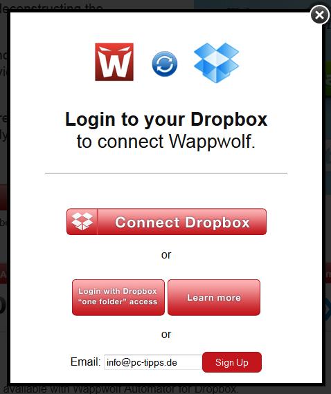 Zunächst müssen Sie den Zugriff via Dropbox erlauben