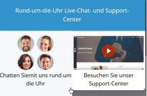 Der Support steht rund um die Uhr per Chat zur Verfügung.